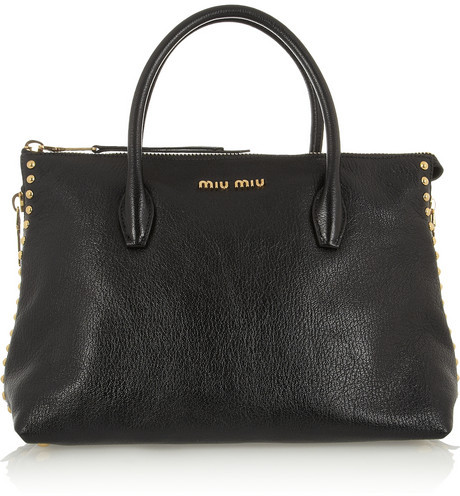 Miu Miu Shopping studded textured-leather tote