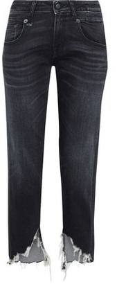R 13 Distressed Mid-Rise Straight-Leg Jeans
