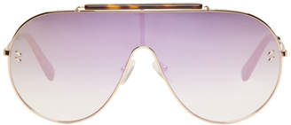 Stella McCartney Rose Gold Oversized Shield Aviator Sunglasses