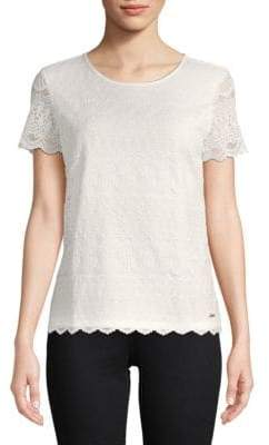 Calvin Klein Lace Short-Sleeve Top