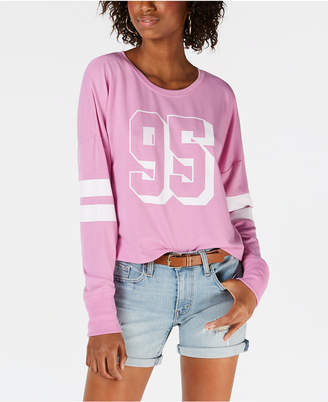 Material Girl Juniors' Striped Graphic Sweatshirt, Created for Macy's