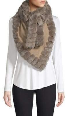 Glamour Puss Glamourpuss Rabbit Fur Trimmed Cashmere Wrap Scarf