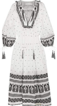 Zimmermann Divinity Tassel-trimmed Embroidered Linen Midi Dress - White