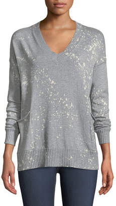 Lisa Todd Art Attack V-Neck Long-Sleeve Sweater w/ Pockets, Plus Size