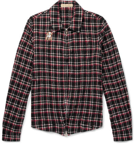 Undercover Appliquéd Checked Wool-Fleece Shirt Jacket