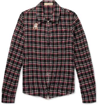 Undercover Appliquéd Checked Wool-Fleece Shirt Jacket