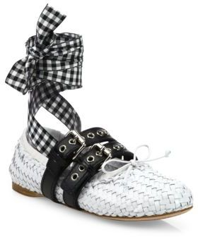 Miu Miu Double Strap Woven Leather Lace-Up Ballet Flats $890 thestylecure.com