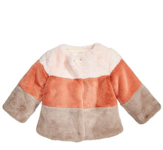 First Impressions Baby Girls Colorblocked Faux-Fur Coat, Created for Macy's