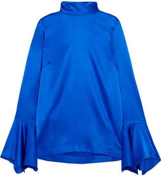 Paper London Rufus Fluted Stretch-silk Satin Top - Bright blue