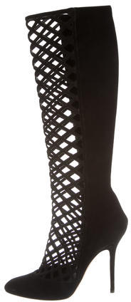 Jimmy Choo Jimmy Choo Suede Cage Knee-High Boots