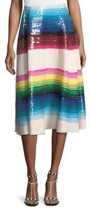 Valentino Striped Paillette Wool Midi Skirt