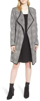 Vince Camuto Houndstooth Drape Duster Cardigan