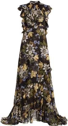 Erdem Riva passion flower-print ruffle-trimmed silk gown