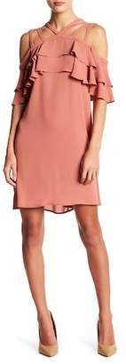 BCBGMAXAZRIA Chelsey Cold Shoulder Crisscross Dress
