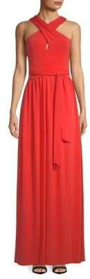 Halston Cross-Neck Fit-&-Flare Gown
