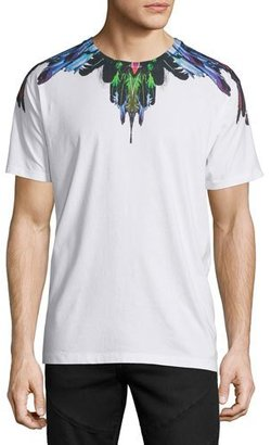 Marcelo Burlon Multicolored Feather Graphic Short-Sleeve T-Shirt, White $250 thestylecure.com