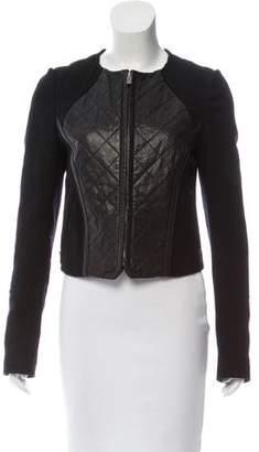 Hanii Y Leather Paneled Wool Jacket