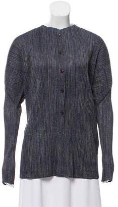 Pleats Please Issey Miyake Striped Button-Up Cardigan