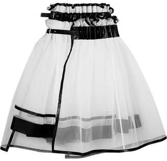 Noir Kei Ninomiya Layered Faux Leather-trimmed Tulle Skirt - White