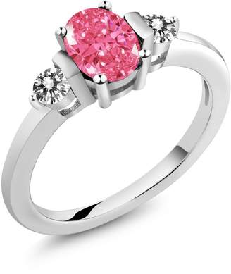 Swarovski Gem Stone King 0.96 Ct Fancy Pink 18K White Gold Ring Made With Zirconia