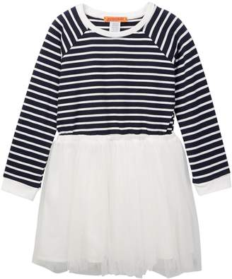 Funkyberry Striped Tulle Dress (Toddler & Little Girls)