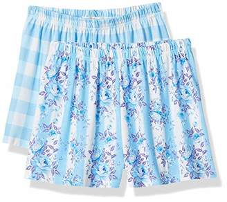Selene Women's Soft 2 pcs Pajama Shorts Plaid Elastic Waist Bottoms L