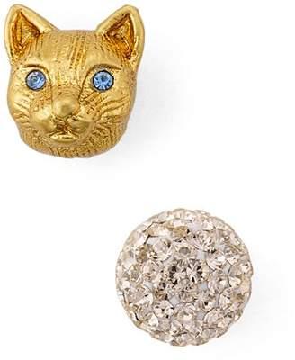 Kate Spade Cat & Pavé Sphere Mismatched Stud Earrings