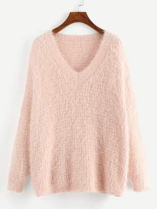Shein V-Neck Fluffy Sweater