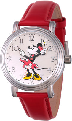 DISNEY Disney Womens Red And Silver Tone Vintage Minnie Mouse Strap Watch W002760 $49.99 thestylecure.com
