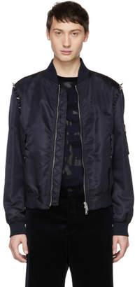 Valentino Navy Punk Studs Bomber Jacket