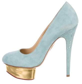 Charlotte Olympia Dolly Embellished Suede Pumps