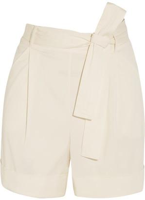 La Perla - Op-art Belted Stretch-cady Shorts - Ivory $665 thestylecure.com