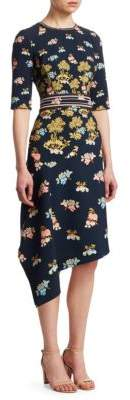 Peter Pilotto Floral Cady Drape Dress