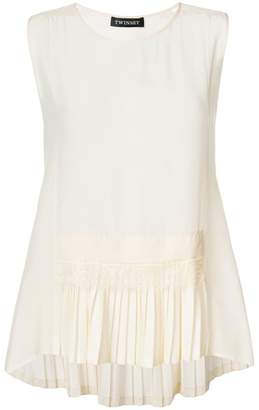 Twin-Set pleated hem sleeve-less top