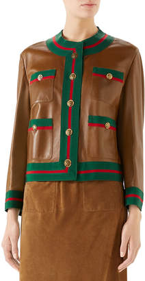 Gucci Ribbon-Trim Button-Front Leather Jacket