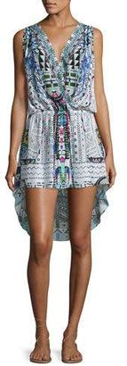 Camilla Embellished Surplice High-Low Dress, Maasai Mosh $430 thestylecure.com