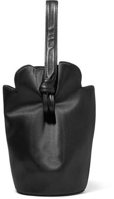 Elizabeth and James French Fry Small Leather-trimmed Satin Tote - Black
