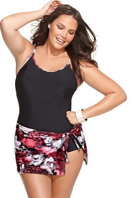 Christina Plus Size Swimsuit, Tummy Control Faux Sarong Swimdress