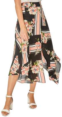 Dorothy Perkins Multi Colour Floral Print Asymmetric Hem Skater Skirt