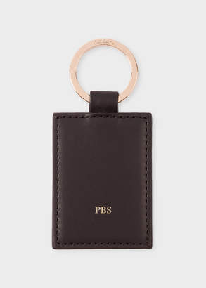 Paul Smith Black Calf Leather Monogrammed Keyring