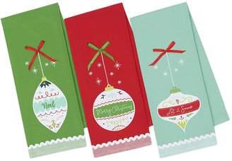 Design Imports Holiday Ornaments Embellished Cotton Dishtowels (Set of 3)