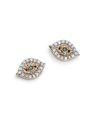Adina 14K Yellow Gold Pavé Blue & White Diamond Tiny Evil Eye Stud Earrings