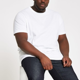 River Island Mens Big and Tall White slim fit T-shirt