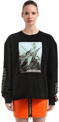 Green Heron Print Cotton Sweatshirt