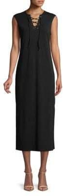 Lace-Up Sleeveless Midi Dress