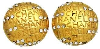 Chanel CC Logo Gold Tone Metal Rhinestone Round Earrings