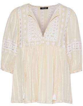 Love Sam Midsummer Peasant Embroidered Cotton-Gauze Blouse