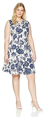 Gabby Skye Women's Plus Size Fit and Flare Floral Ottoman Dress