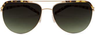 Barton Perreira Oversized Square Navigator Sunglasses, Navy