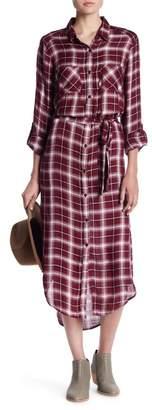 Elan International Hi-Lo Plaid Shirt Dress
